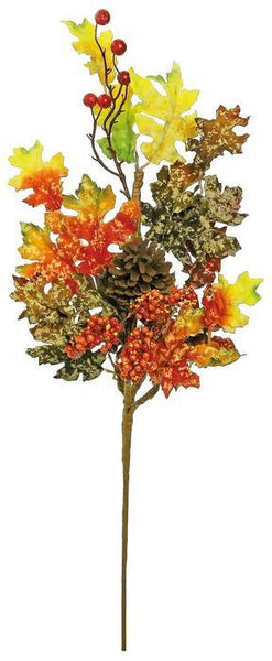 "MOTTLED MAPLE LEAF SPRAY WITH CONES & BERRIES, 29""; YELLOW/RUST"