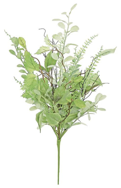 "MIXED FOLIAGE & FERN BUSH, 28"" GREEN"