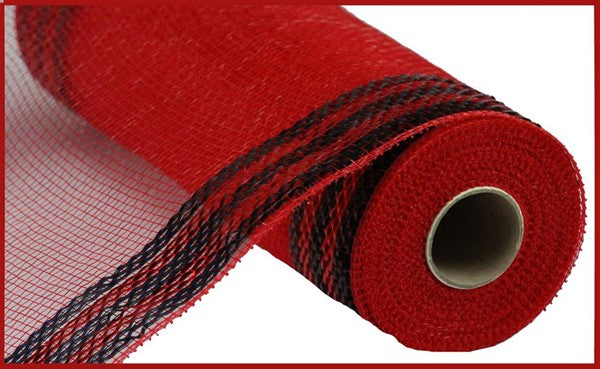 "10.5""X10yd Border Stripe Metallic Mesh red/black"