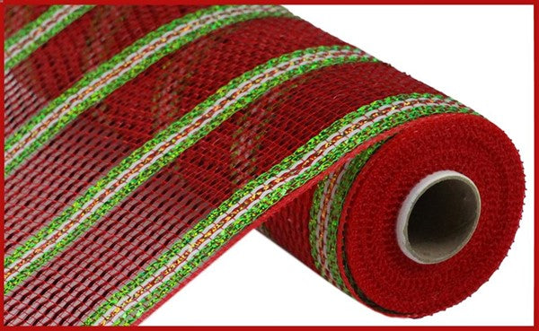 "10.5""X10yd Pp/Laser Foil Mesh red/lime green/gold/white"