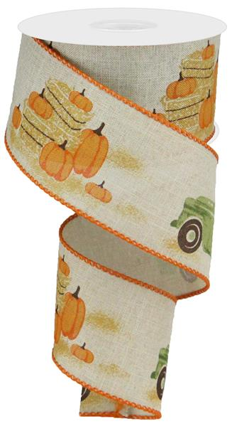 "2.5""X10yd Truck W/Pumpkins On Royal   Natural/Moss/Orange/Brown"