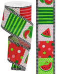 "2.5""X10yd Watermelon Block/Gingham Edge"