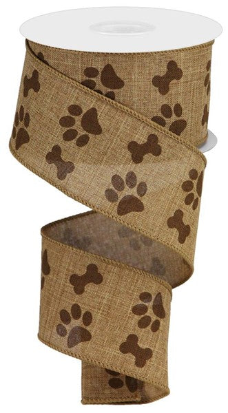 "2.5""X10yd Dog Bone/Paw Print On Royal"