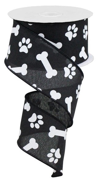 "2.5""X10yd Paw Print/Bones On Royal"