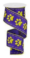 "2.5""X10yd Paw Prints On Satin"
