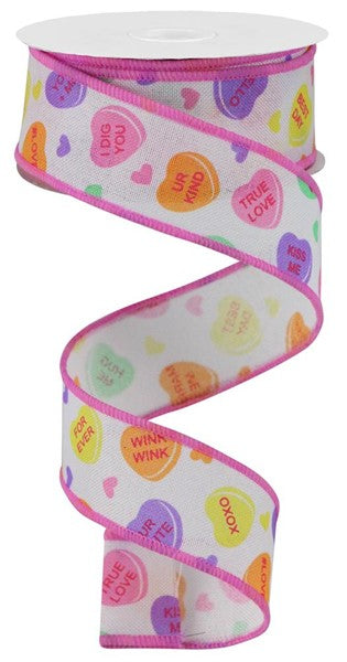 "1.5""X10yd Conversation Hearts On Royal"