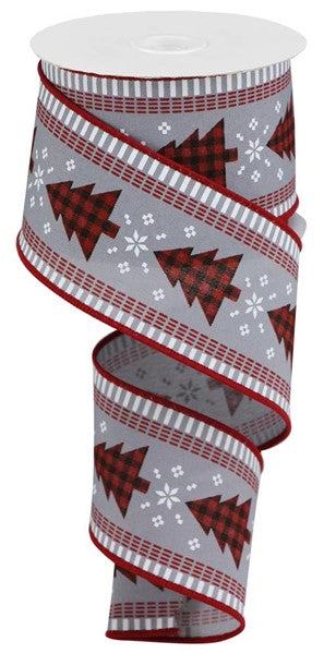 "2.5""X10yd Christmas Tree/Check/Stripe"
