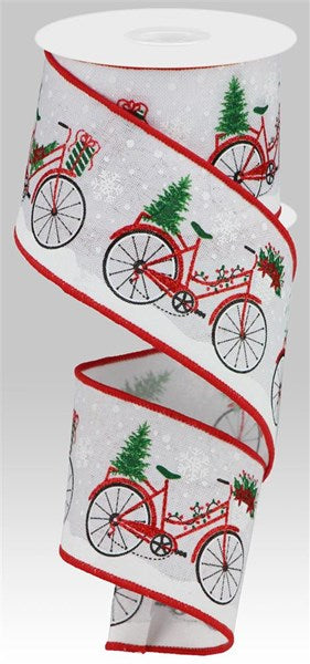 "2.5""X10yd Christmas Bicycle On Satin"
