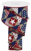 "2.5""X10yd Patriotic Patchwork/Royal"
