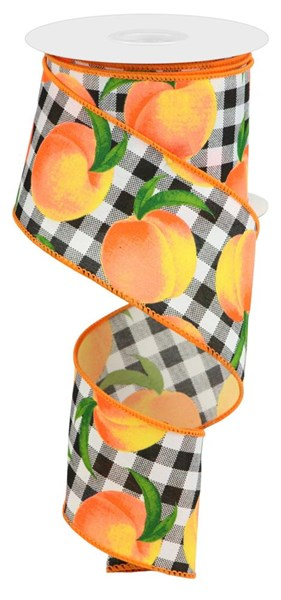 "2.5""X10yd Peaches/Gingham On Pg"