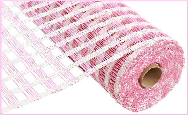 "10""X10yd Poly Burlap Check Mesh   Cream/Pink"