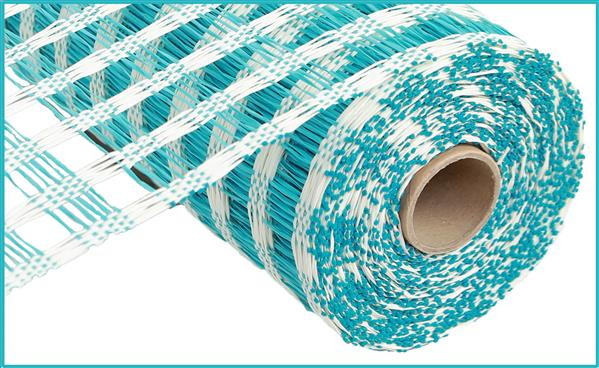 "10""X10yd Poly Burlap Check Mesh   Cream/Turquoise"