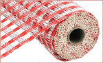 "10""X10yd Poly Burlap Check Mesh   Red/White"