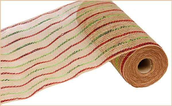 "10.5""X10yd Poly/Jute/Metallic Mesh   Red/Lime Green/Natural"