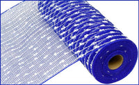 "10.5""X10yd Cotton Ball/Poly Mesh   Royal Blue/White"