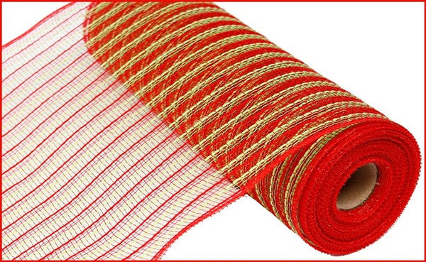 "10.5""X10yd Poly/Faux Jute Mesh red green"