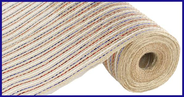 "10.5""X10yd Pp/Jute/Laser Foil Mesh   Red/White/Blue/Natural"