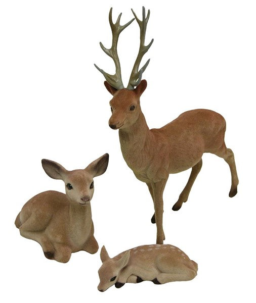 Flocked Deer Family