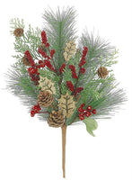 "WOODLAND HOLLY BERRY & BRISTLE, PINE BUSH, 20"","