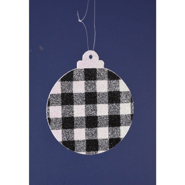 "5.5"" x 0.5 plaid glitter ornament"