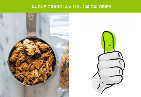 1/4 cup of granola and serving sizes