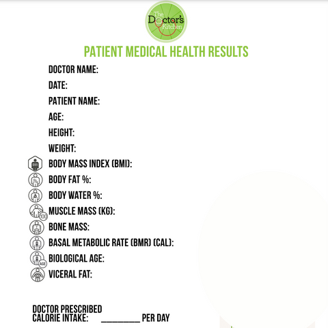 The patient results chart on the weight loss meal program