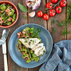 Grilled Herb Chicken W/ Spicy Greek Bean Medley