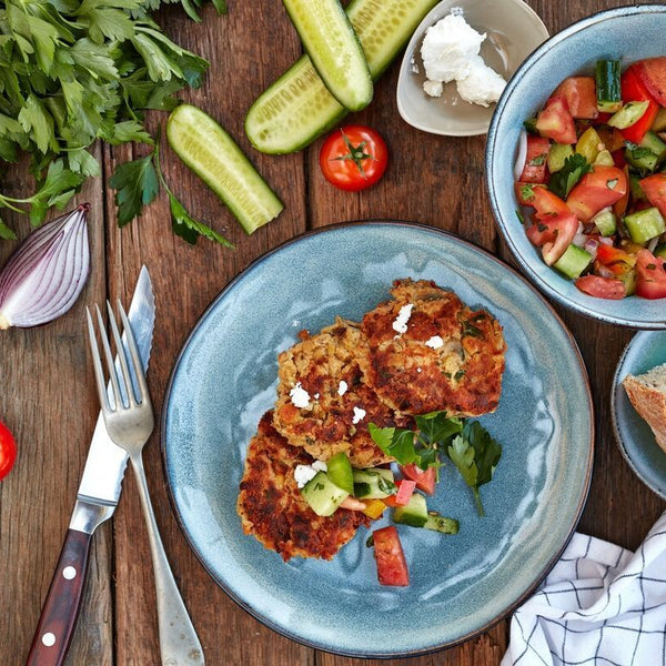 Chickpea Fritters W/ Greek Salad & Sourdough