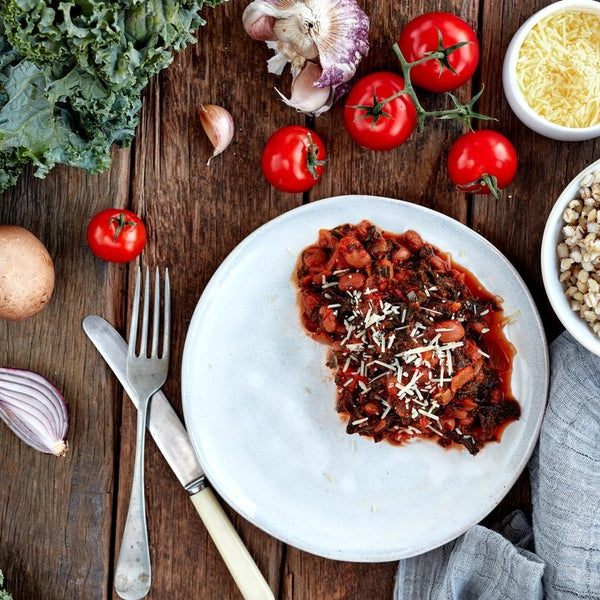 Braised Kale W/ Beans, Tomato & Parmesan On Barley