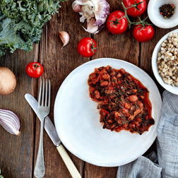 Braised Kale W/ Beans & Tomato On Brown Rice