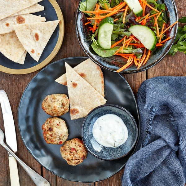 Wholemeal Pita W/ Chicken Meat Balls & Tzatziki