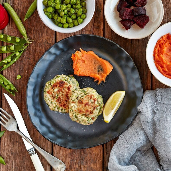 Haloumi & Broccoli Fritters W/ Beetroot & Peas