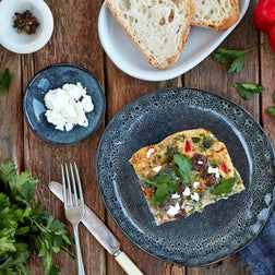 Greek Frittata w/ Rocket & Tomato Relish