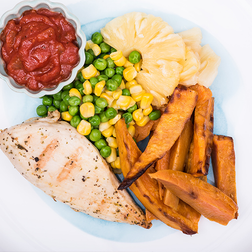 Hawaiian Chicken, Beans & Roast Sweet Potato Chips