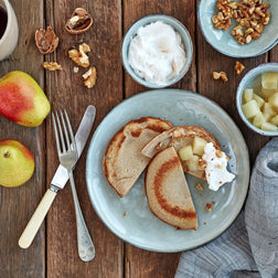 Buckwheat Pancakes, Poached Pear & Coconut Yoghurt