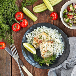 Grilled Snapper W/ Dill Rice & Shirazi Salad