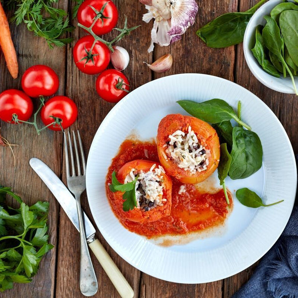 Greek Stuffed Tomatoes W/ Red Lentil Sauce
