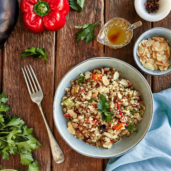 Roast Vegetable, Almond & Sumac Quinoa Salad