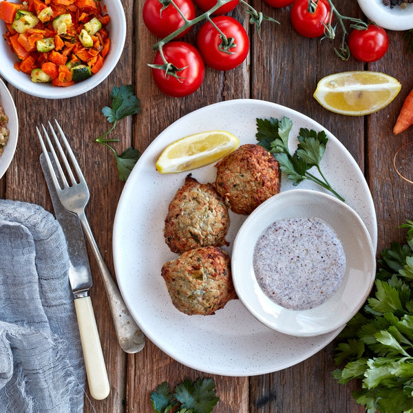 Turkey & Zucchini Patties w/ Tabouli & Lemon