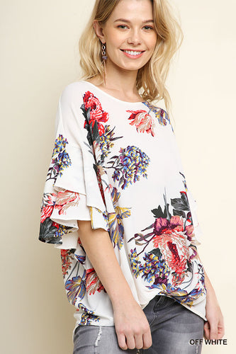 Floral Print Top with Ruffle Sleeves