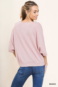 Striped bell sleeve with waist tie