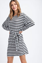 Load image into Gallery viewer, Black/Grey Striped Dress