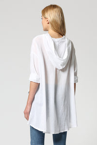 Oversized linen hooded top