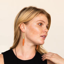 Load image into Gallery viewer, Terra Cotta and Brass Ceramic Spike Earring