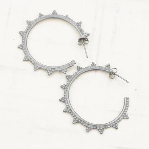 Gunmetal Dot Hoop Earrings