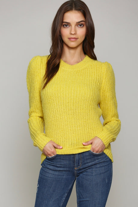 Mustard Puff Shoulder Sweater