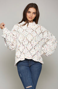 Diamond Stitch Pom Pom Sweater