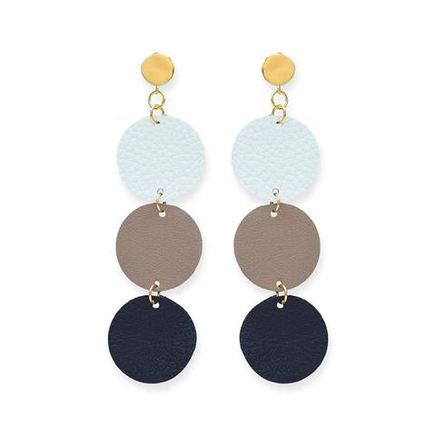 Ombre Leather Circle Earrings