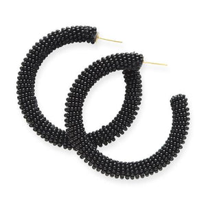 Black Solid Seed Bead Hoops