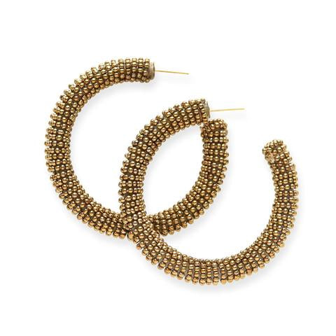 Gold Solid Seed Bead Hoops